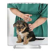 Vet Giving Pup Its Primary Vaccination Shower Curtain