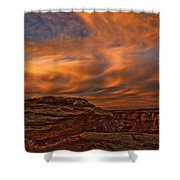 Vibrant Sunset Over The Rim Of Canyon Shower Curtain