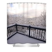 View From A Deck After A Recent Snow Shower Curtain