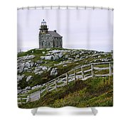 View Of Lighthouse, Rose Blanche Shower Curtain