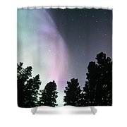 View Of Trees And Northern Lights Shower Curtain