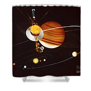 Voyager Saturn Flyby Artwork Shower Curtain by Science Source