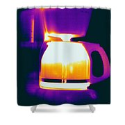 Warming Coffee Machine Shower Curtain