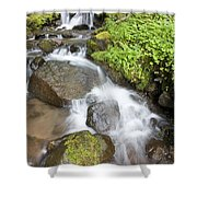 Water Cascading Over Rocks, Mount Hood Shower Curtain