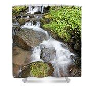 Water Cascading Over Rocks, Mount Hood Shower Curtain