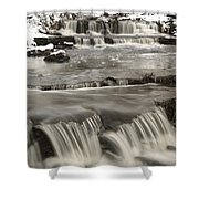 Waterfalls With Fresh Snow Thunder Bay Shower Curtain