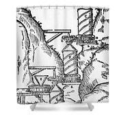 Watermill, Reversed Archimedean Screw Shower Curtain by Science Source