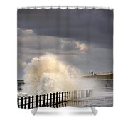Waves Crashing, Sunderland, Tyne And Shower Curtain by John Short