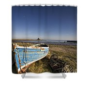Weathered Fishing Boat On Shore, Holy Shower Curtain by John Short