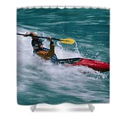 Whitewater Kayaker Surfing A Standing Shower Curtain