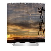 Windmill And Sunset Shower Curtain