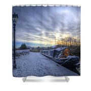 Winter At The Boat Inn Shower Curtain