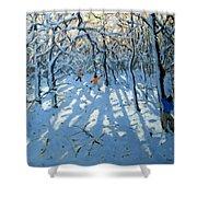Winter Woodland Near Newhaven Derbyshire Shower Curtain