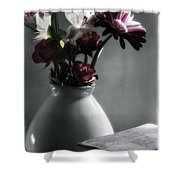 Red Floral Still Life  Shower Curtain