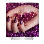 Woman Hand With Purple Nail Polish On Candy Shower Curtain