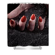 Woman Hand With Red Nails On Black Sand Shower Curtain