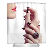 Woman Hands And Lips Shower Curtain