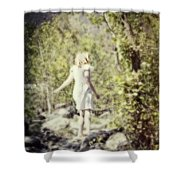 Woman In A Forest Shower Curtain