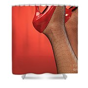 Woman In Red High Heel Shoes Shower Curtain
