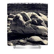 Woman In River Shower Curtain by Joana Kruse