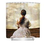 Woman On A Meadow Shower Curtain