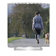 Woman Walking With Her Dogs Shower Curtain
