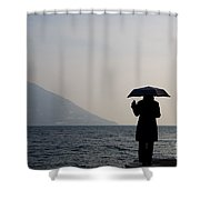 Woman With An Umbrella Shower Curtain