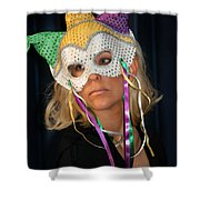 Woman With Mask Shower Curtain by Henrik Lehnerer