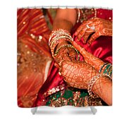 Women With Decorated Hands Holding Hands In A Hindu Religious Ceremony Shower Curtain