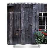 Wooden Building And Window Box Shower Curtain