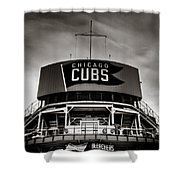 Wrigley Field Bleachers In Black And White Shower Curtain
