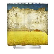 Yellow Field On Old Grunge Paper Shower Curtain