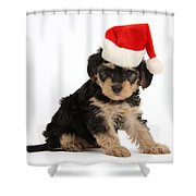 Yorkipoo Pup Wearing Christmas Hat Shower Curtain