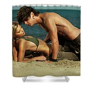 Young Couple On The Beach Shower Curtain