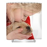 Young Girl With Yellow Labrador Shower Curtain