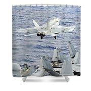 An Fa-18e Super Hornet Launches Shower Curtain