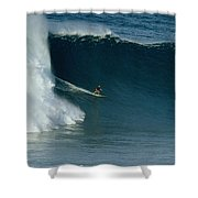 A Surfer Rides A Powerful Wave Shower Curtain