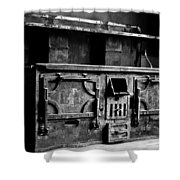 1800's Stove Black And White Shower Curtain