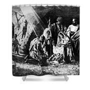 1898 Artwork Of Nativity Scene At Nativity Church Shower Curtain