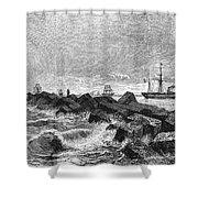 Suez Canal Construction Shower Curtain by Granger