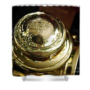 1907 Stanley Steamer - Top View Brass Tail Light Shower Curtain