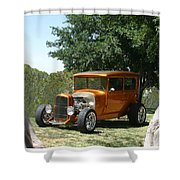 1929 Ford Butter Scorch Orange Shower Curtain by Jack Pumphrey
