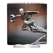 1931 Packard Deluxe Eight Roadster Hood Ornament Shower Curtain