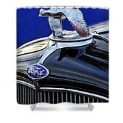1932 Ford V8 Hood Ornament Shower Curtain