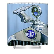 1933 Delage D8s Coupe Hood Ornament Shower Curtain by Jill Reger