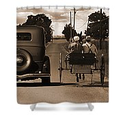 1934 Chevy And Today's Horse And Buggy By Randall Branham Shower Curtain