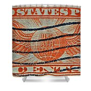 1934 U. S. Air Mail Dull Orange Stamp Shower Curtain