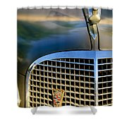 1937 Cadillac Hood Ornament And Grille Shower Curtain