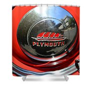1937 Plymouth Hubcap Shower Curtain