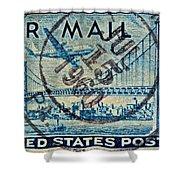 1946 Oakland Bay Bridge Air Mail Stamp Shower Curtain